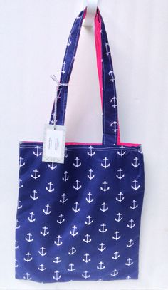 Navy Blue and Hot Pink Market Tote Handmade Farmer's Market Bag Navy Blue and White AnchorPrint Tote Bag Reversible Tote Bag by AmyReneeNicosia on Etsy