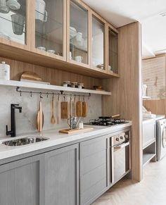 microwaves in kitchen Kitchen Room Design, Kitchen Cabinet Design, Kitchen Sets, Modern Kitchen Design, Home Decor Kitchen, Kitchen Interior, New Kitchen, Home Interior Design, Home Kitchens