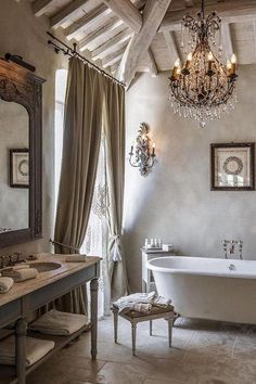 French country bathroom with Rustic And Romantic details