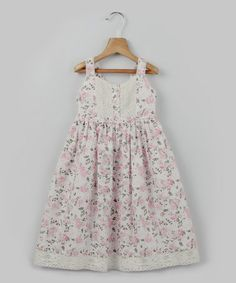 Another great find on #zulily! White & Pink Floral Lace Trim Dress - Toddler & Girls by Beebay #zulilyfinds