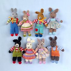 KNITTING PATTERN contains instructions for RABBIT RASCALS - 10 cute little bunnies that are fun to make and only require small amounts of yarn.
