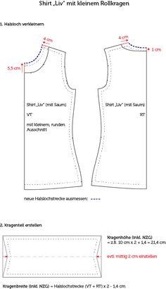 Schnittanpassung: Shirt mit kleinem Rollkragen nähen
