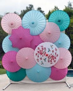 #DIY #photobooth #backdrop idea: use traditional #Chinese #umbrellas in a variety of pastel colors. Inspired by #HandMadeHostess #KellyLeeCreel