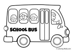 School bus Transportation coloring pages for kids, printable