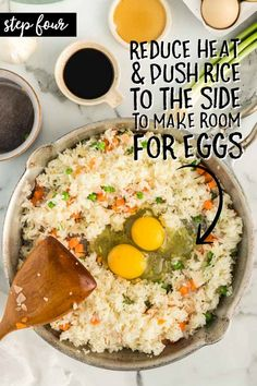 A plate of food on a table, with Egg and Fried rice