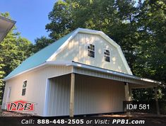 "30' W x 32' L x 10' 4"" H (ID# 581) Gambrel Garage with Storage Lean-To: Dimensions: 8' W x 30' L x 10' H Roof Pitch: 2/12 Overhangs Eaves & Gables: 1' Pole Spacing: 15' Bays Openings: (2) 9' x 9' Residential Classic Raised Short Panel Insulated Garage Doors (1) 3068 9-Lite Insulated Entry Door (7) 3' x 4' Single-Hung Insulated Windows with Screens & Grids #Gambrel #Garage #LeanTo Entry Doors, Garage Doors, Garage Door Insulation, Roof Pitch, Pole Buildings, Lean To, Gambrel, Garage Design, 4 H"