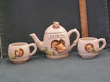 EARLY ENESCO TEA FOR TWO SET, FOIL LABEL, VERY UNUSUAL 3-D SQUIRREL FAMILY 1977