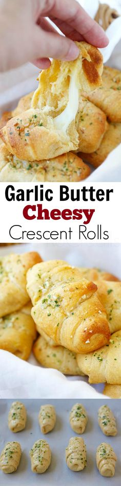 "I made these door a potluck and they were yummy! best when fresh out off oven though because of the cheese.""Garlic Butter Cheesy Crescent Rolls - amazing crescent rolls loaded with Mozzarella cheese and topped with garlic butter, takes 20 mins! Think Food, I Love Food, Good Food, Yummy Food, Crescent Roll Recipes, Crescent Rolls, Pilsbury Crescent Recipes, Pillsbury Recipes, Crescent Dough"