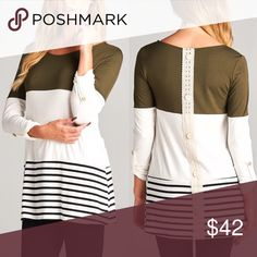 MEAGAN striped 3/4 sleeve top - OLIVE 3/4 Sleeve solid & stripe round neck tunic top. Features lace crochet button back detailing. Super soft and comfy. Fits true to size.  AVAILABLE IN OLIVE & BLACK Fabric 96% Modal 4% Spandex Made in USA NO TRADE, PRICE FIRM Bellanblue Tops