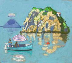 Leon Morrocco - Becalmed Boat, Stromboli, oil on canvas, 75 x Stromboli, Painters, Morocco, Oil On Canvas, Boats, Contemporary, Artist, Ships, Artists