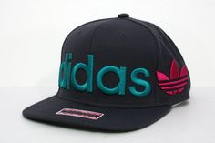 Adidas Big Logo Wrap Flat-Bill Mens Snapback Hat Gray/Teal/Pink
