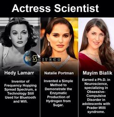 Hedy Lamarr: Inventor of Frequency Hopping Spread Spectrum, a Technology still used for Bluetooth and Wifi Natalie Portman: Invented a simple method to demonstrate the enzymatic production of hydrogen from sugar Mayim Bialik: Earned a Ph.D. in neuroscience, specializing in Obsessive-Compulsive Disorder in adolescents with Prader-Willi syndrom