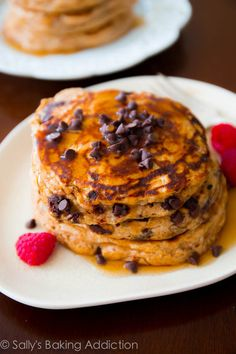 Whole Wheat Chocolate Chip Pancakes. Soft, wholesome pancakes made with simple ingredients | sallysbakingaddiction.com