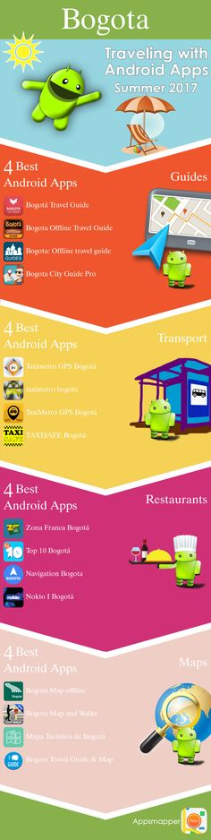 Bogota Android apps: Travel Guides, Maps, Transportation, Biking, Museums, Parking, Sport and apps for Students.
