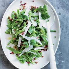 Fresh Snow Pea Salad with Pancetta & Pecorino | Daniel Humm's terrific summer salad is crisp and lemony, with bits of meaty pancetta and lots of fresh mint. Since the snow peas aren't cooked, it's best to buy them super-fresh, preferably from a farmers' market.
