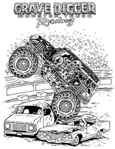 grave digger monster truck racing coloring pages printable and coloring book to print for free. Find more coloring pages online for kids and adults of grave digger monster truck racing coloring pages to print. Monster Truck Drawing, Monster Truck Coloring Pages, Cars Coloring Pages, Coloring Pages For Boys, Coloring Pages To Print, Free Printable Coloring Pages, Coloring Books, Coloring Sheets, Big Monster Trucks