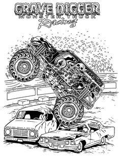 Monster Truck, Grave Digger Monster Truck Coloring Page: Grave Digger Monster Truck Coloring PageFull Size Image