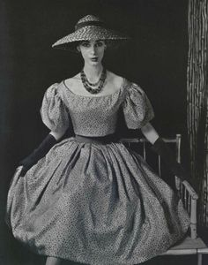 1956 Dior's spotted silk with billowing skirt and balloon sleeves