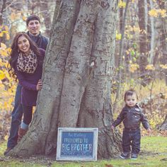 Baby #2 announcement Family Fall photoshoot photography Promoted to Big Brother chalkboard sign diy