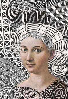pick a portrait from a magazine or famous painting and then create background and clothing with zentangle.