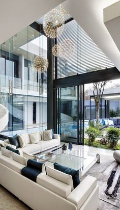 Modern Interior Design - Glass Walls in living room. Simply inspirational by house design interior design 2012 home design room design Modern Interior Design, Interior Architecture, Modern Interiors, Luxury Interior, Modern Mansion Interior, Luxury Decor, White House Interior, Pavilion Architecture, Natural Interior