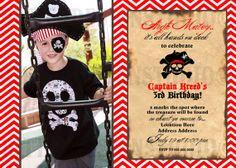 Chevron Pirate Birthday Invitation - Printable/Digital File on Etsy, $16.00