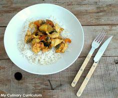 My Culinary Curriculum: Poêlée de poulet, merguez un rien orientale aux courgettes, poivrons (Pan-fried chicken oriental way with zucchini, peppers)