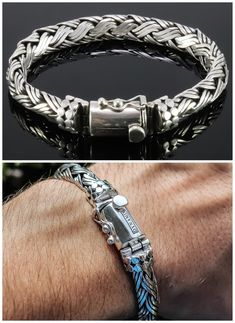 Mens Silver Jewelry, Sterling Silver Bracelets, Mens Jewellery, Bracelets For Men, Leather Bracelets, Jewelry Bracelets, Necklaces, Handmade Sterling Silver, Bali