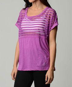 Loving this Balanced Tech Purple Sheer Stripe Crewneck Top on #zulily! #zulilyfinds