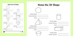 Features of 3D Shapes - Year 2 Write-Up Activity Sheet - 3D shapes, faces, vertices, edges, sphere, cylinder, pyramid, cone, prism, cube,Australia