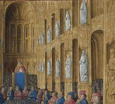Détail miniature de Jean Colombe dans  les « Passages faiz oultre mer par les François contre les Turcqs et autres Sarrazins et Mores oultre marins », traité commencé à être rédigé à Troyes, « le jeudi XIIIIe jour de janvier » 1473