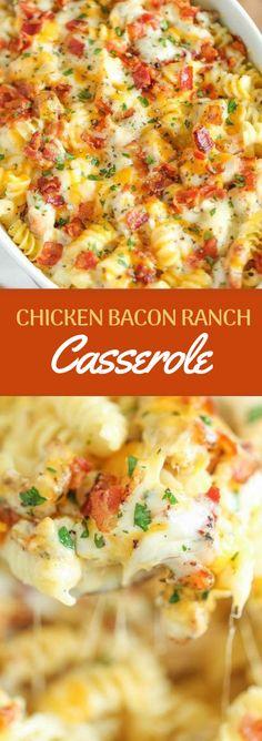CHICKEN BACON RANCH CASSEROLE #baconranch #dinner #chicken