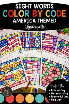 These patriotic themed color by code printables are full of kindergarten sight words from the Dolch and Fry high frequency word lists and are perfect for increasing your students' reading fluency and reading comprehension skills.  Click here to grab your no-prep packet of engaging kindergarten sight word activities! #kindergartensightwords #dolch #frysightwords #literacycenters #morningwork #fastfinisheractivities #readingfluency #daily5 #workonwords #kindergartenactivities #reading #sightwords