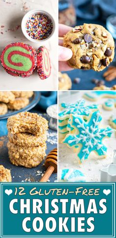 Learn how to make 12 different Christmas Cookies that also happen to be gluten-free! From cut-out sugar cookies, snickerdoodles, to chocolate chip cookies and no-bake vegan treats. There's tons of yummy dessert recipes to give as food gifts or make for a holiday party! #christmas #cookies #glutenfree
