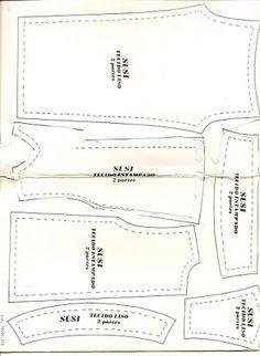molde de um vestido e calça da Boneca Susi  (para tamanho original imprima em tamanho A4):