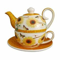 Jameson&Tailor XXL Tea for one Sonnenblume 0,6 Ltr Teekanne Tee Tasse Untertasse: Amazon.de: Küche & Haushalt