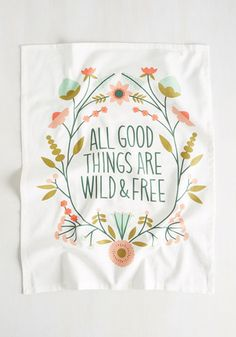 To-Do Transcendentalist Tea Towel - White, Multi, Floral, Other Print, Daytime…