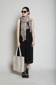 Y's by Yohji Yamamoto Knit Tank Combi Dress (Black)