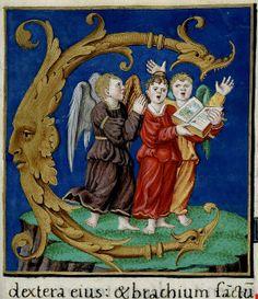 Angels singing, (Psalter Henry VIII English). (Illuminated manuscript close up).