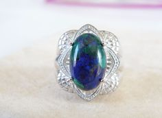 Vintage BIG Sterling Silver 925 Azurite Blue Green Stone Chunky Ring Size 6 #Designer #Cocktail