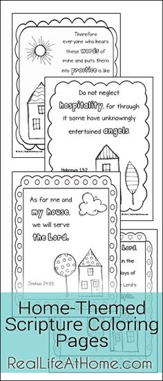 Free Scripture Coloring Pages Featuring Doodle Designs and Home-Themed Scriptures (preschool, kindergarten, first grade, free printable) Catholic Kids, Kids Church, Catholic Crafts, Sunday School Lessons, Sunday School Crafts, Bible Coloring Pages, Coloring Sheets, Colouring, Free Coloring