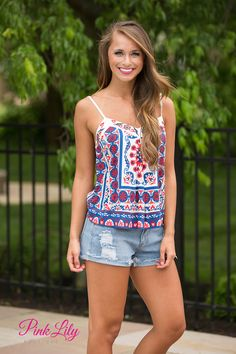 This vibrant tank is so perfect for all of your summer occasions, like cookouts in the backyard or relaxing by the pool!
