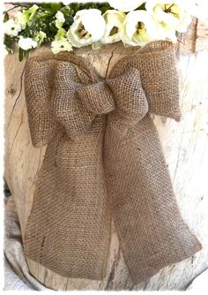 Burlap, Burlap Bow, Wreath Bow, Burlap Decoration, Pew Bow, Wedding Bow, Wedding Decor , Rustic Decor, Door Decoration - Hand Made. $10.00, via Etsy.