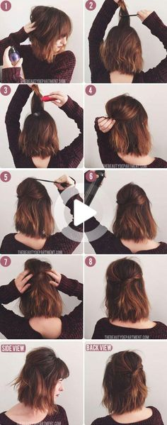 Doing your hair should be fun, simple and pretty, but some hair tutorials are so complicated, you can hardly follow along. If you're a little frustrated, we totally feel you. That's why below you will find 17 easy styles that can be completed in a couple of simple steps! Thank Goodness For Hair Tutorials! How-to … Short Bob Hairstyles, Everyday Hairstyles, Hairstyles With Bangs, Trendy Hairstyles, Wedding Hairstyles, Shoulder Length Hairstyles, Creative Hairstyles, Styling Shoulder Length Hair, Shoulder Length Hair Styles For Women
