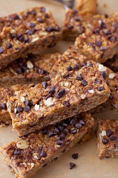 Healthy No-Bake Peanut Butter Chocolate Chip Granola Bars