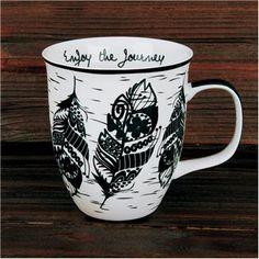 """Boho Black and White Mug Feather - """"Enjoy the Journey"""""""
