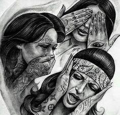 Bildresultat för i don't hear i don't see i don't speak chicano Chicano Tattoos, Evil Tattoos, Chicano Drawings, Gangsta Tattoos, Body Art Tattoos, Sleeve Tattoos, Chicano Love, Chicano Art, Tattoo Sketches