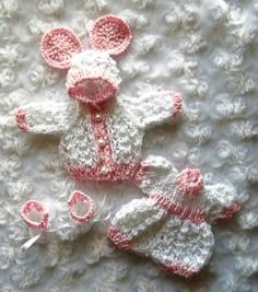 Pink & White set of clothes for 6 inch OOAK sculpt baby doll