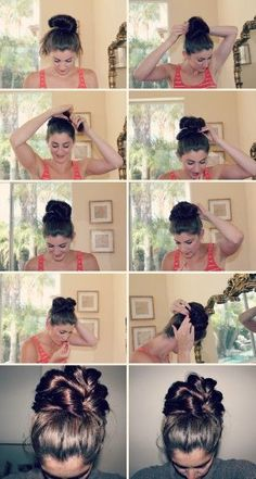 It's hot and the top knot is the perfect summer hair style. Here are a bunch of different top knot tutorials to try! Beat the heat with the top knot! Easy Bun Hairstyles, My Hairstyle, Pretty Hairstyles, Hairstyle Tutorials, Bun Tutorials, Wedding Hairstyles, Wedding Updo, Top Knot, Knot Bun