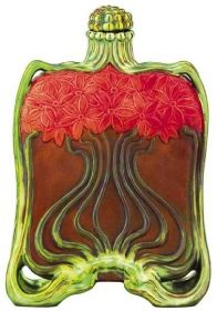 A c1900 antique perfume bottle so lifelike you can almost smell it. Art Nouveau flowers, Zsolnay Design
